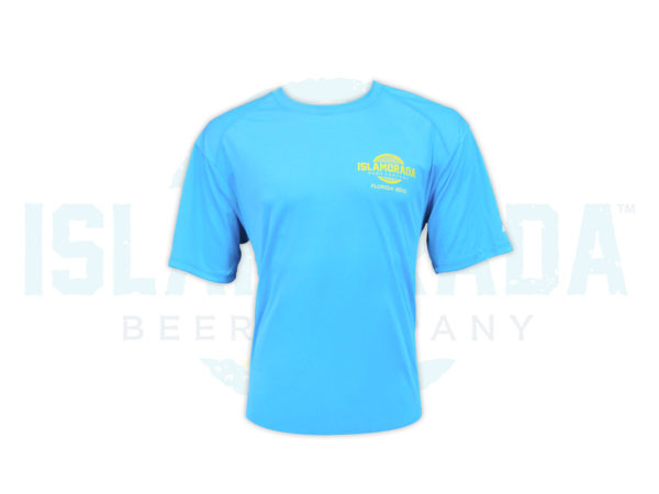 electric-blue-short-sleeve-polyester-shirt-man-front