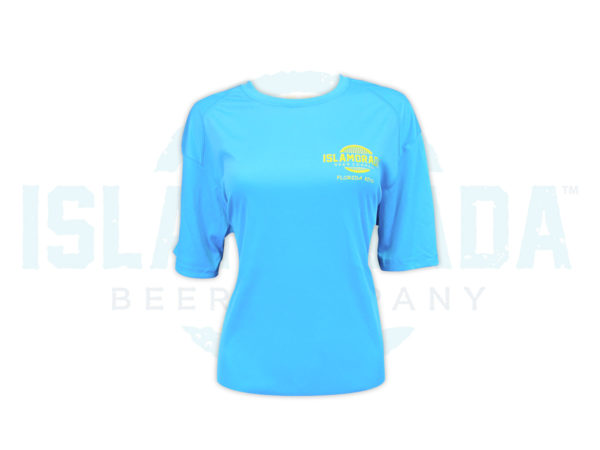 electric-blue-short-sleeve-polyester-shirt-woman-front